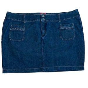 Torrid Denim Stretch  Blue Jean Mini Skirt Plus 24
